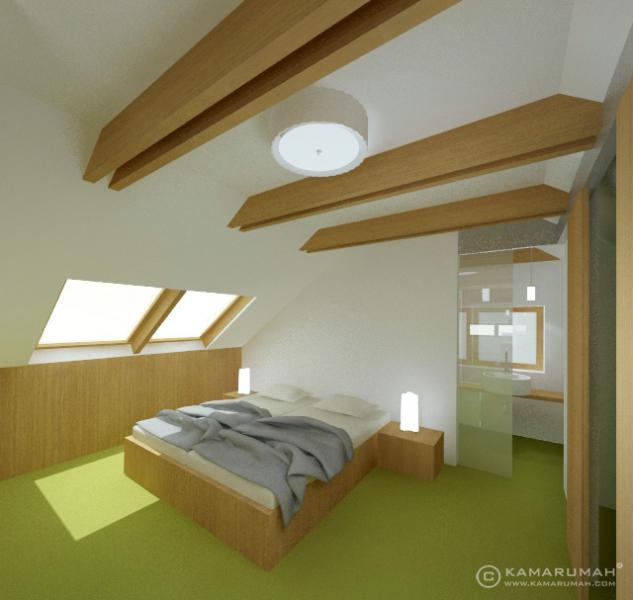 Podkrovní apartmán – ložnice