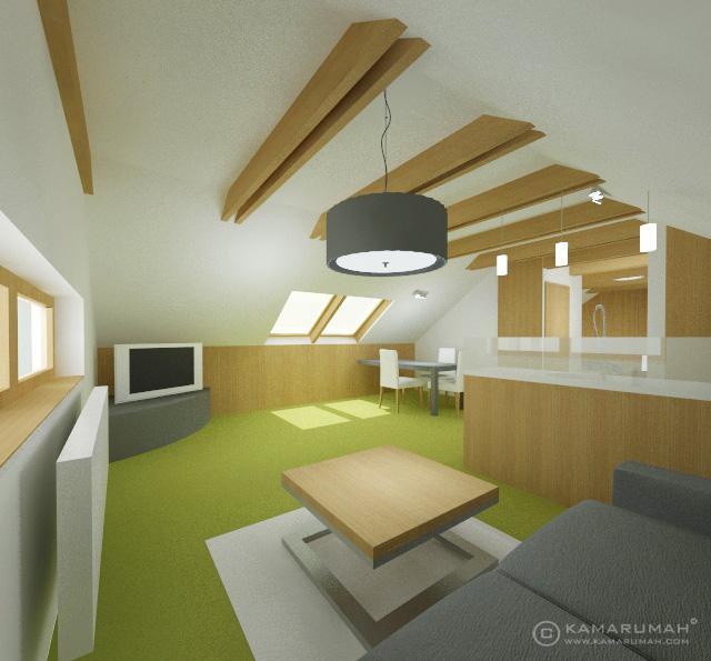 Podkrovní apartmán – obývací pokoj