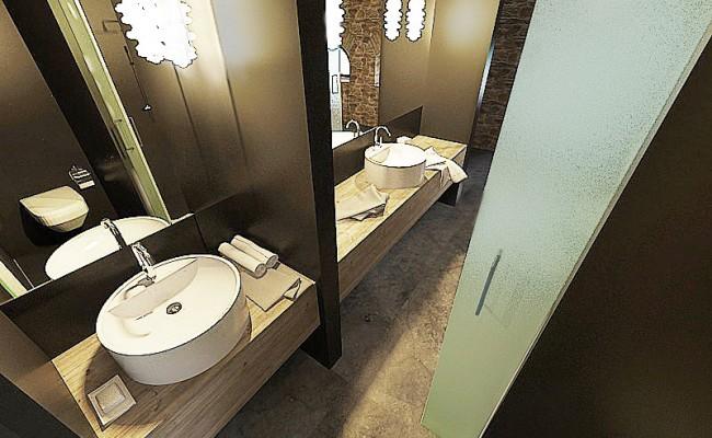 moderní půdní koupelna