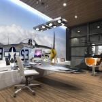 Kancelář v duchu strojního designu